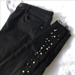 Zara Black Jeans with Pearl Beading